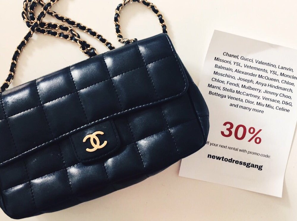 "This timeless Chanel bag is now available to rent with a 30% discount! :) ""NEWTODRESSGANG"""