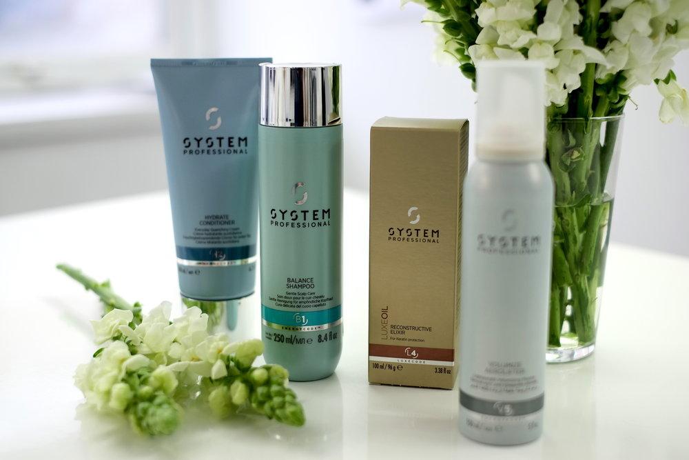 Hydrate  Conditioner, Balance  Shampoo, Reconstructive   Elixir Oil, Volumize Aerolift Mousse