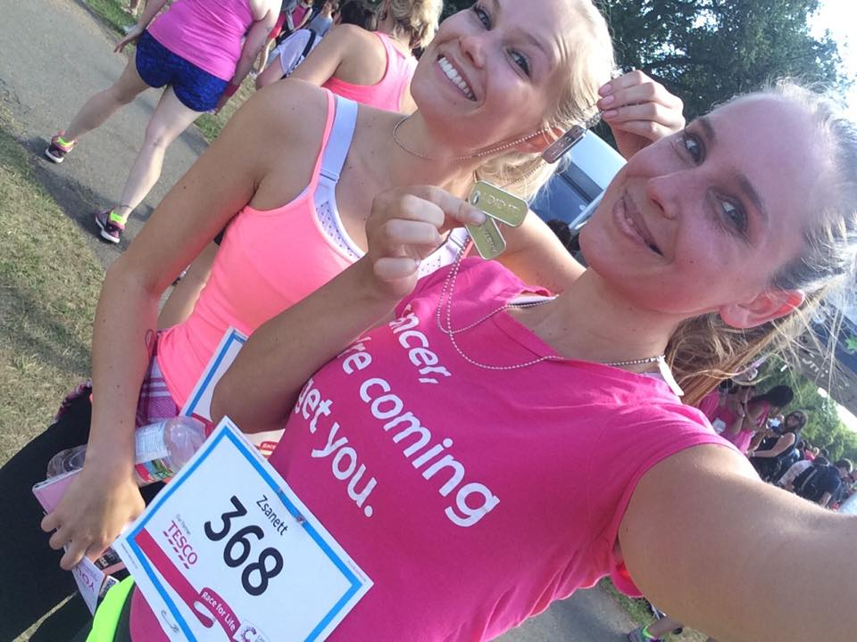 Zsanett and I after running 10K in Hyde park together with thousands of women dressed in pink to support breast-cancer research