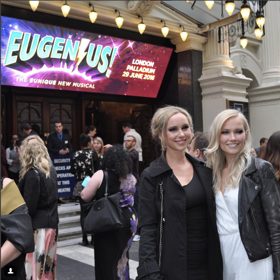 Zsanett and Sara outside The Palladium, ready to watch the one night only concert performance of EUGENIUS!