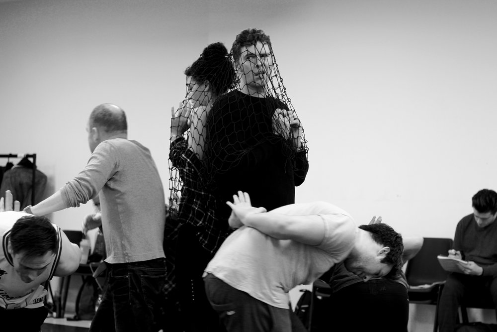 From rehearsals - `Though Man and Super Hot Lady` captured by the fish people
