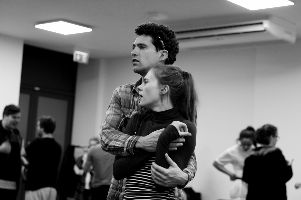 "From rehearsals - Eugene and Janey singing ""Comic Book Kind of Love"""