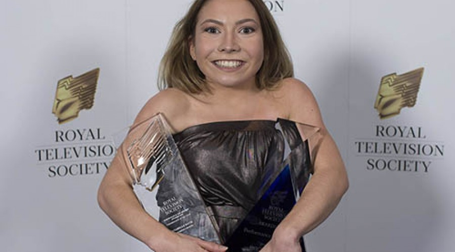 Annabell after winning 'Performance of the Year' at the Royal Television Society NTEB Awards 2018