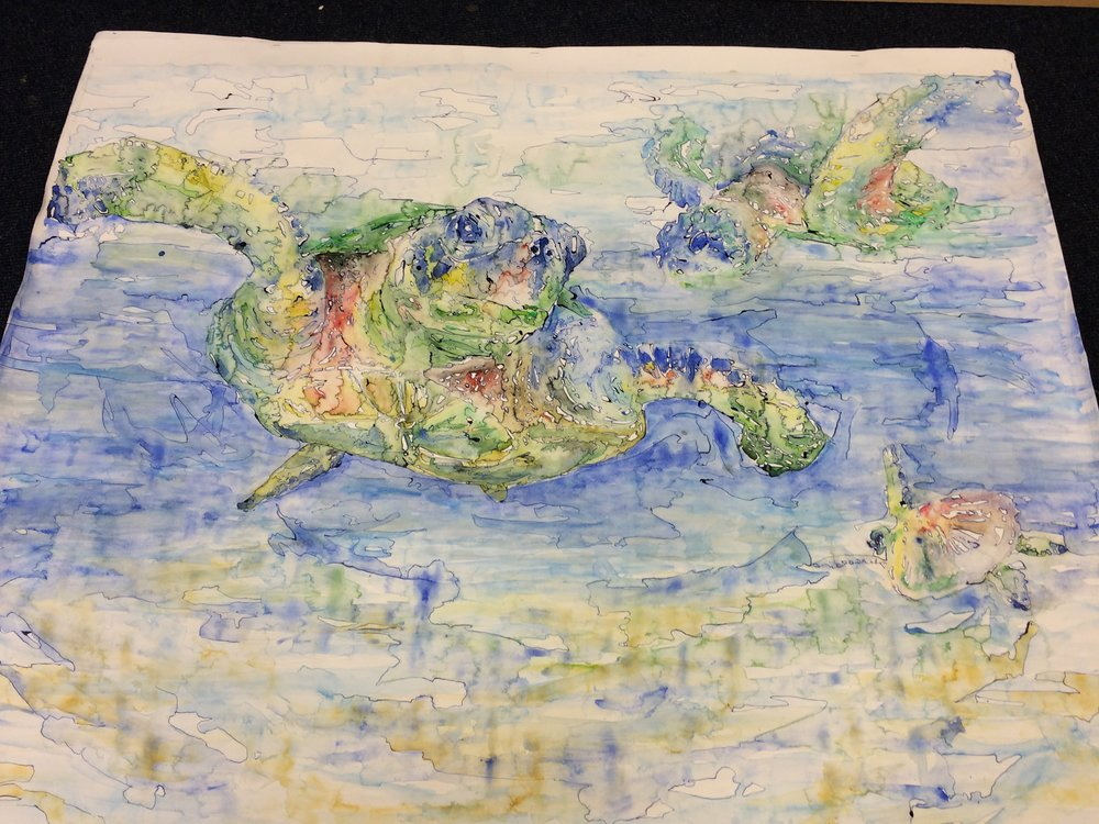 A painting of three Sea Turtles that I completed as part of my A-Level course work.