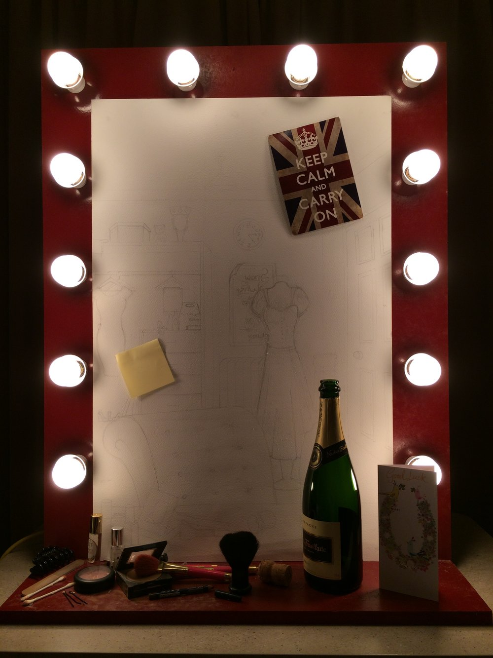Halfway through the creation of 'The Dressing Room Mirror'.