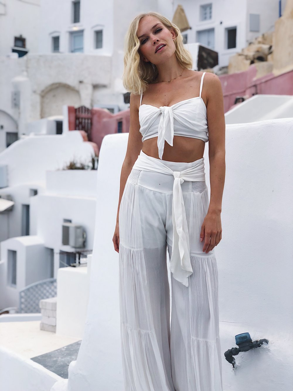 Also taken from our hotel room in Oia   Outfit from Free People