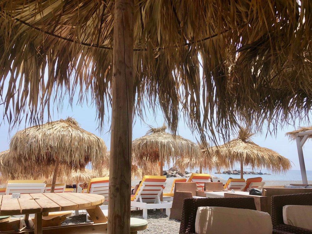 One of the many nice restaurants along Kamari beach