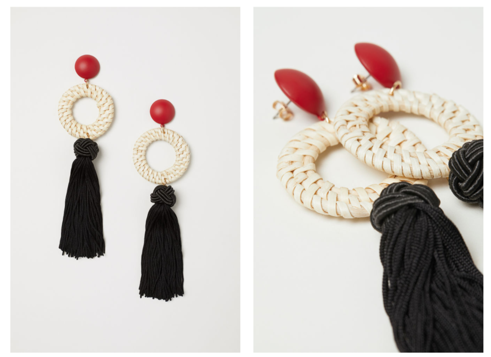 Tasselled earrings - I like the idea of tassel earring, but I actually realised while writing on this post that I don't own any yet. This might be a pair I'd like to get as I like the straw detail a lot which makes it stand out from the normal tassel earrings. Find them at H&M here for only £9.99!