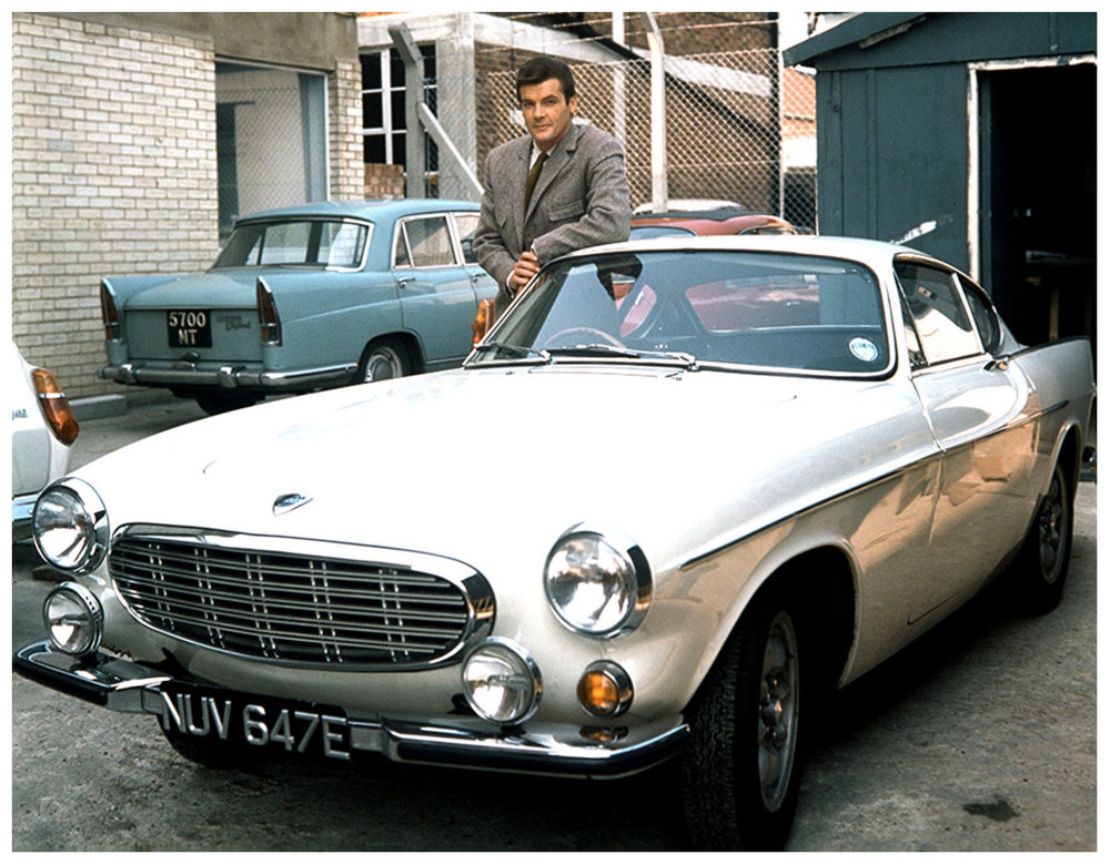 Roger Moore as 'The Saint', here with his Volvo P1800