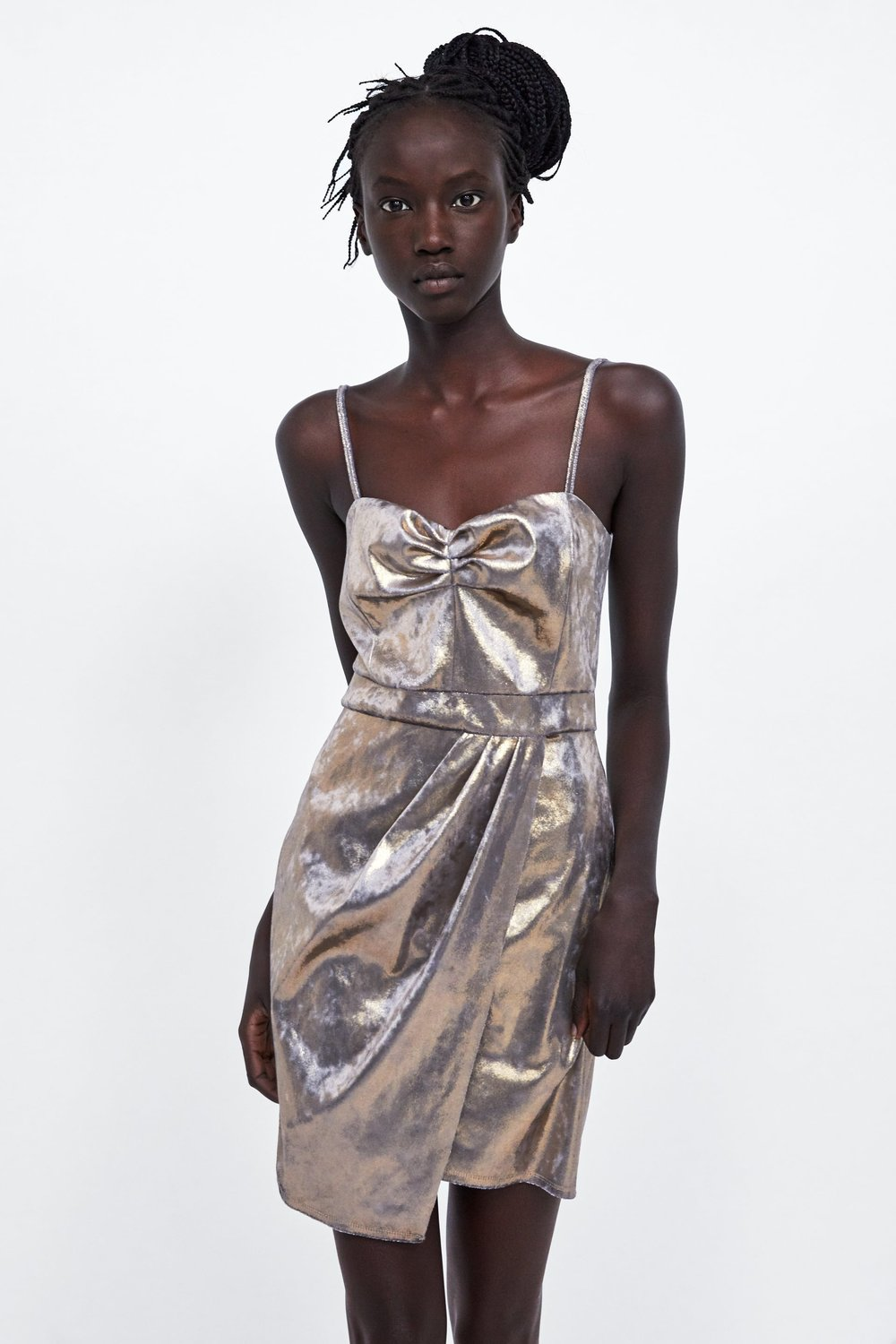 Patchy Silver Metallic Dress from Zara -  Shop here!