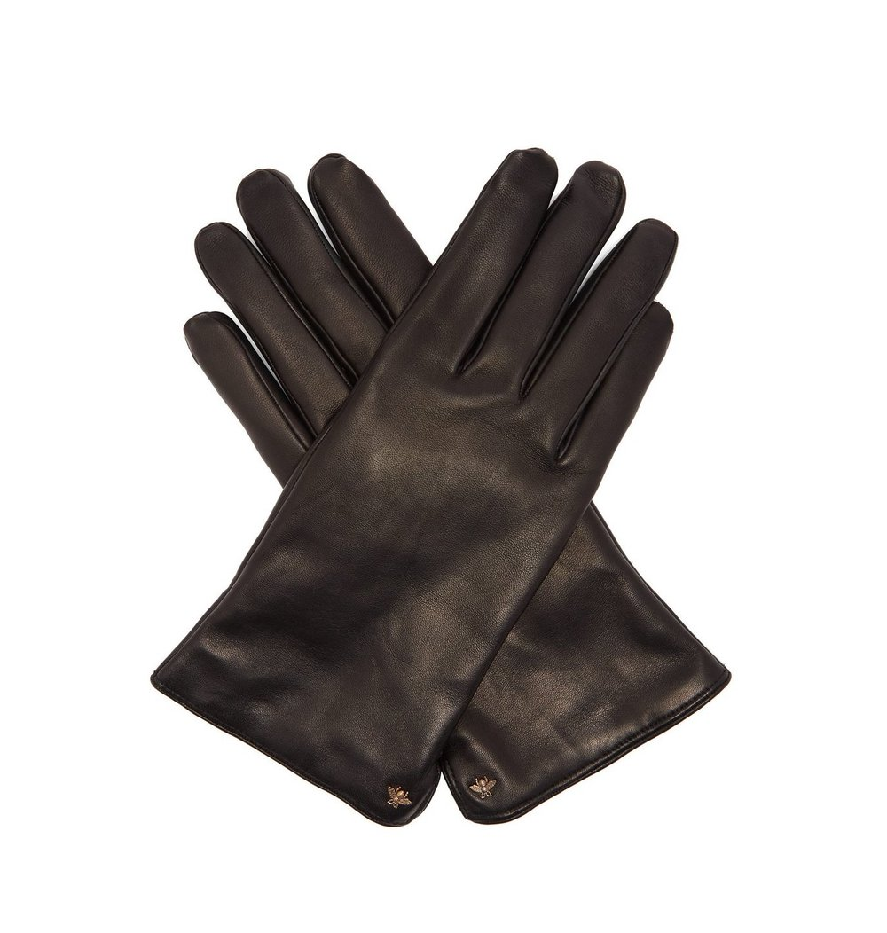 Leather gloves - GUCCI Bee-motif leather glovesThis lovely black leather gloves are simply finished with a gold-tone metal bee motif in the corner – Made in Italy for a snug fit with coordinating topstitching and a smooth cashmere interior for outstanding insulation. Buy them here