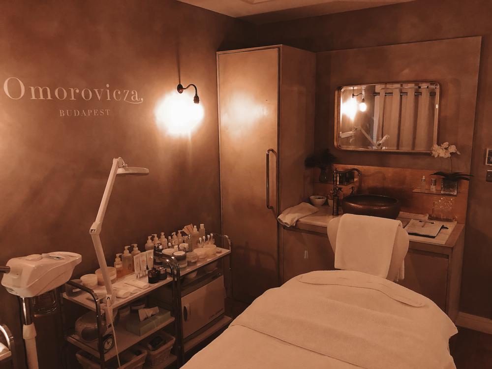 The beautiful Omorovicza treatment room at Liberty London.