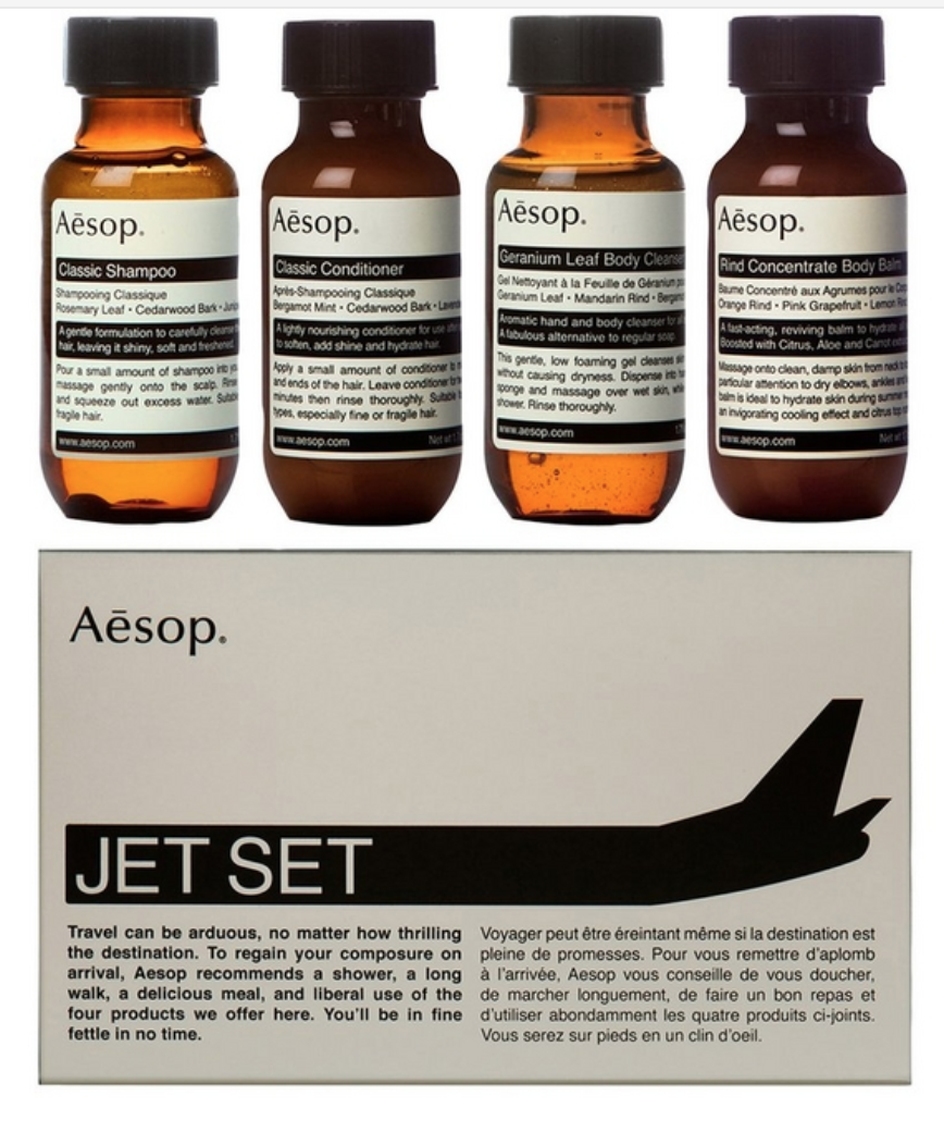 AESOPJet Set Travel Collection - £27.00Whether he travels by plane, train or car, first-class skin and hair products make all the difference on arrival. Aesop's small and portable Jet Set kit contains all what he needs when travelling.