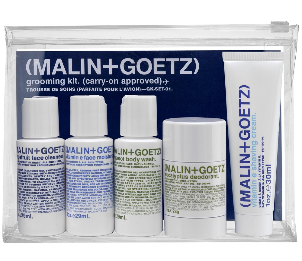 MALIN+GOETZ -Grooming Kit -£32.00 - Grapefruit Face Cleanser gently tones the skin, whilst Vitamin E Moisturiser and Shaving Cream condition the skin and are perfect for daily use. Bergamot Body Wash hydrates and purifies the skin. The label's Eucalyptus Deodorant has achieved cult status for its effective alcohol and aluminium-free recipe and is developed especially for sensitive skin. We think this is an awesome travel kit too!