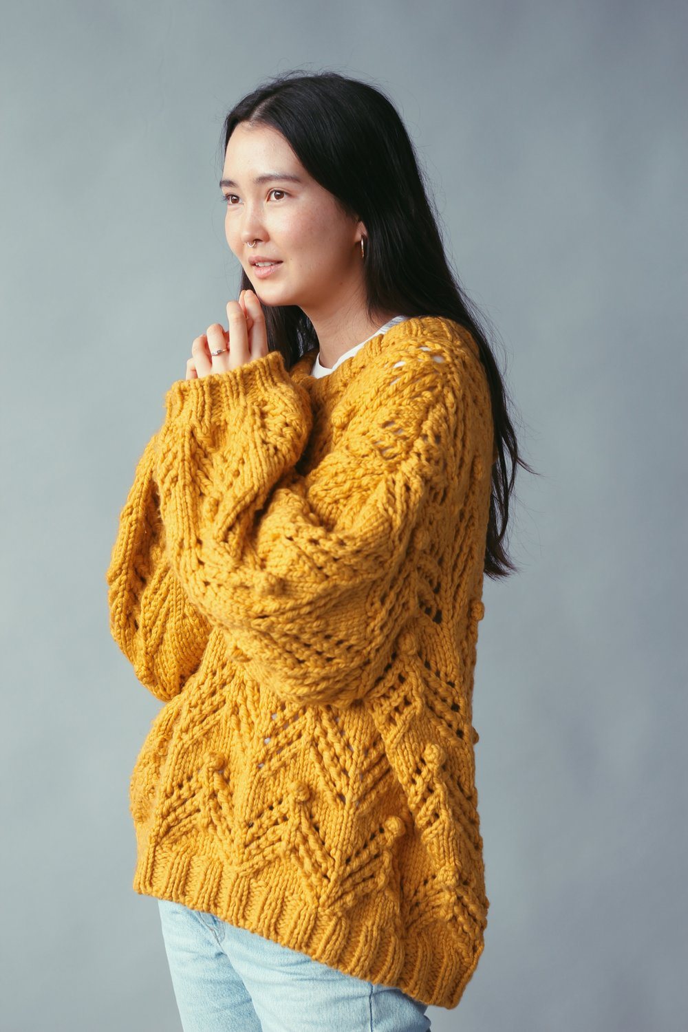 ADVANCED - This pattern is definitely a bit more difficult but perfect for anyone who wants to challenge themselves or were waiting for the right project to start knitting lace patterns. This Jumper is very big - I made mine in size L-XL since I am tall and love oversized jumpers.