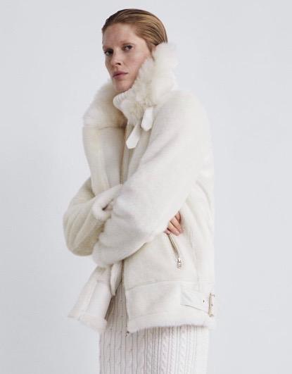 Faux fur biker jacket from Zara