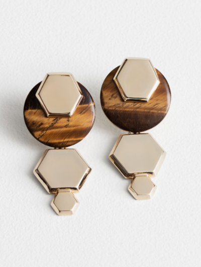 Hexagon Tigers Eye Earrings from And Other Stories
