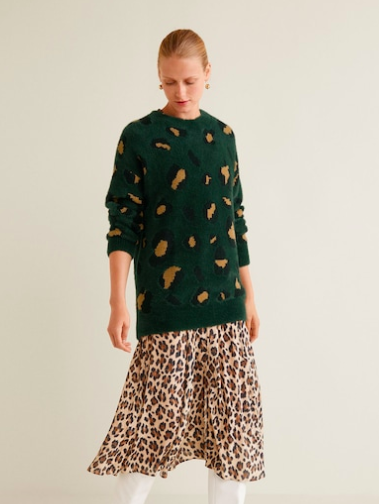 Printed knit sweater from Mango