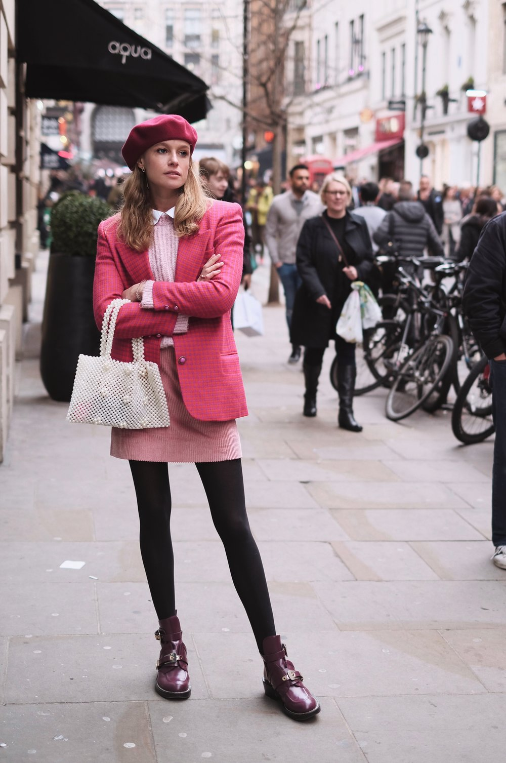 Annabell is wearing:   Blazer - Vintage  Hat - Vintage  Hand Bag -   Mango    Blouse -   COS    Cord skirt -   COS    Shoes -   Balenciaga