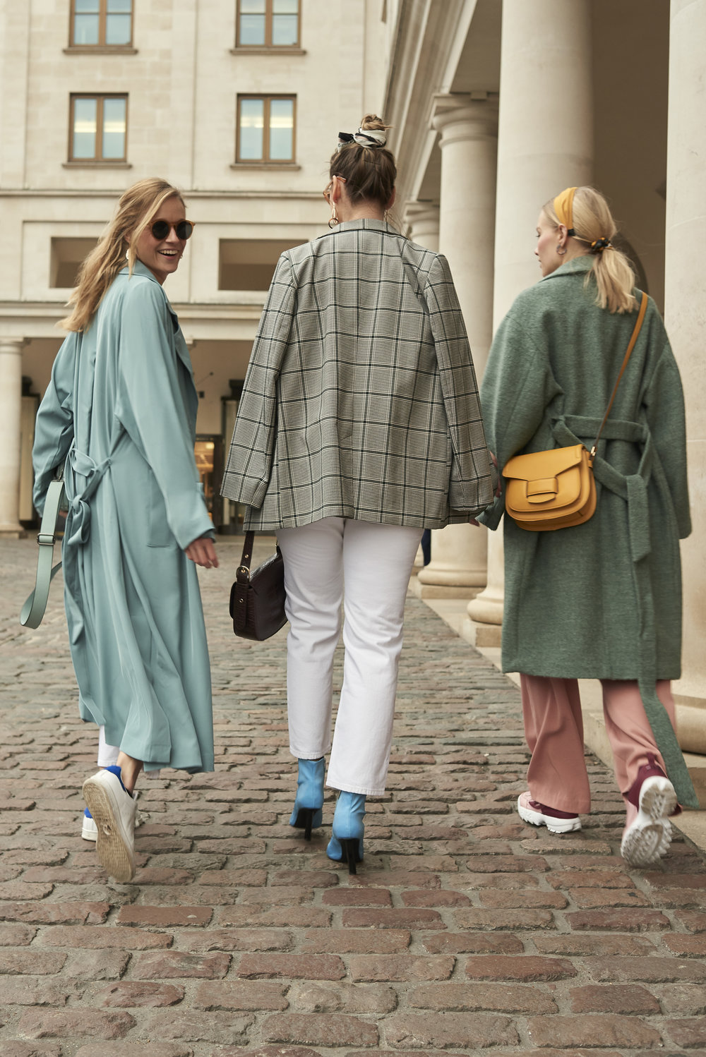 Find the dusty blue trench coat   here    Find the checkered blazer   here    Find the green wool blend coat   here