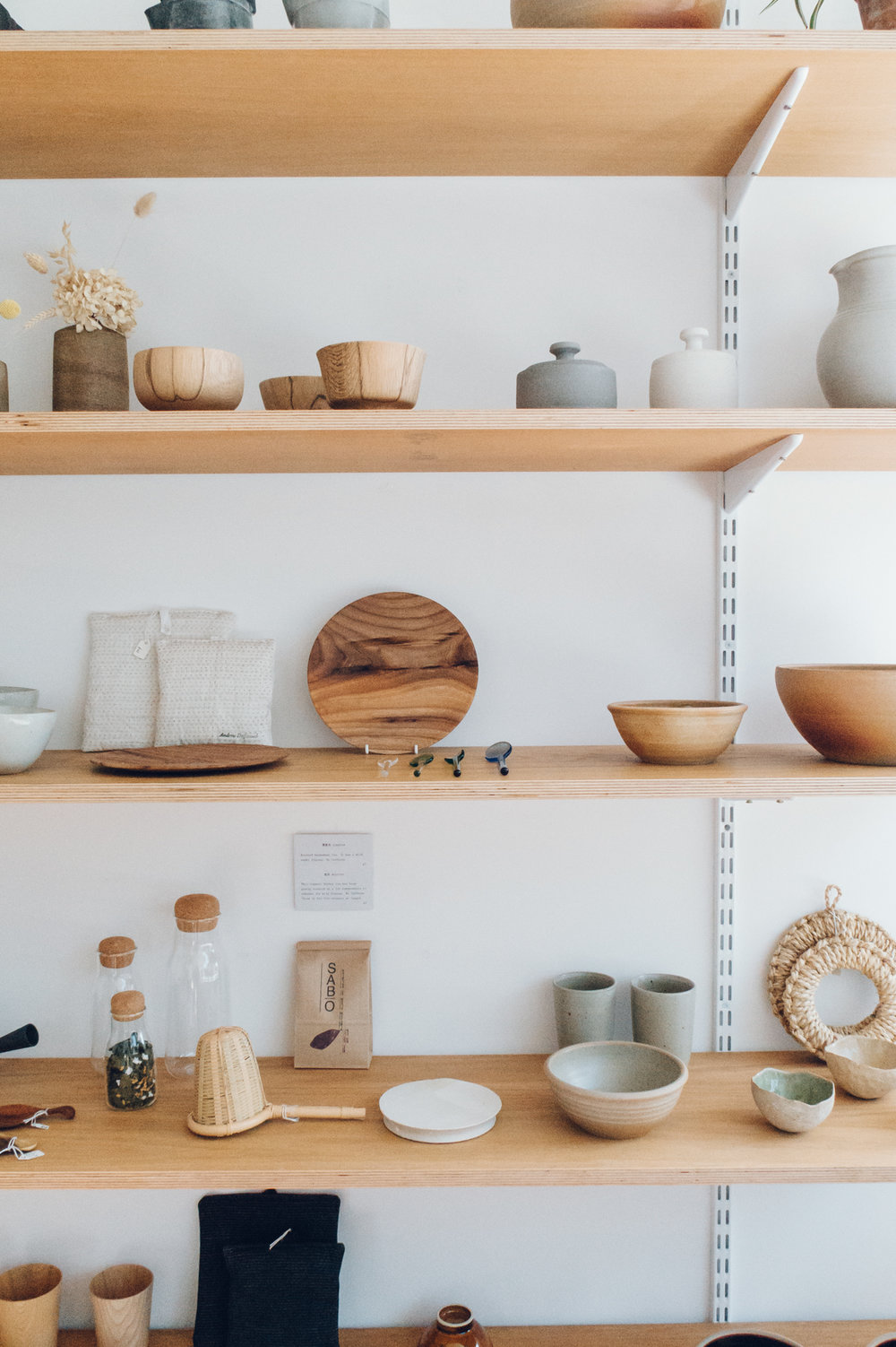 Shelves of ceramics and beautiful handmade items