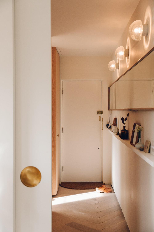 Midcentury-inspired hallway.
