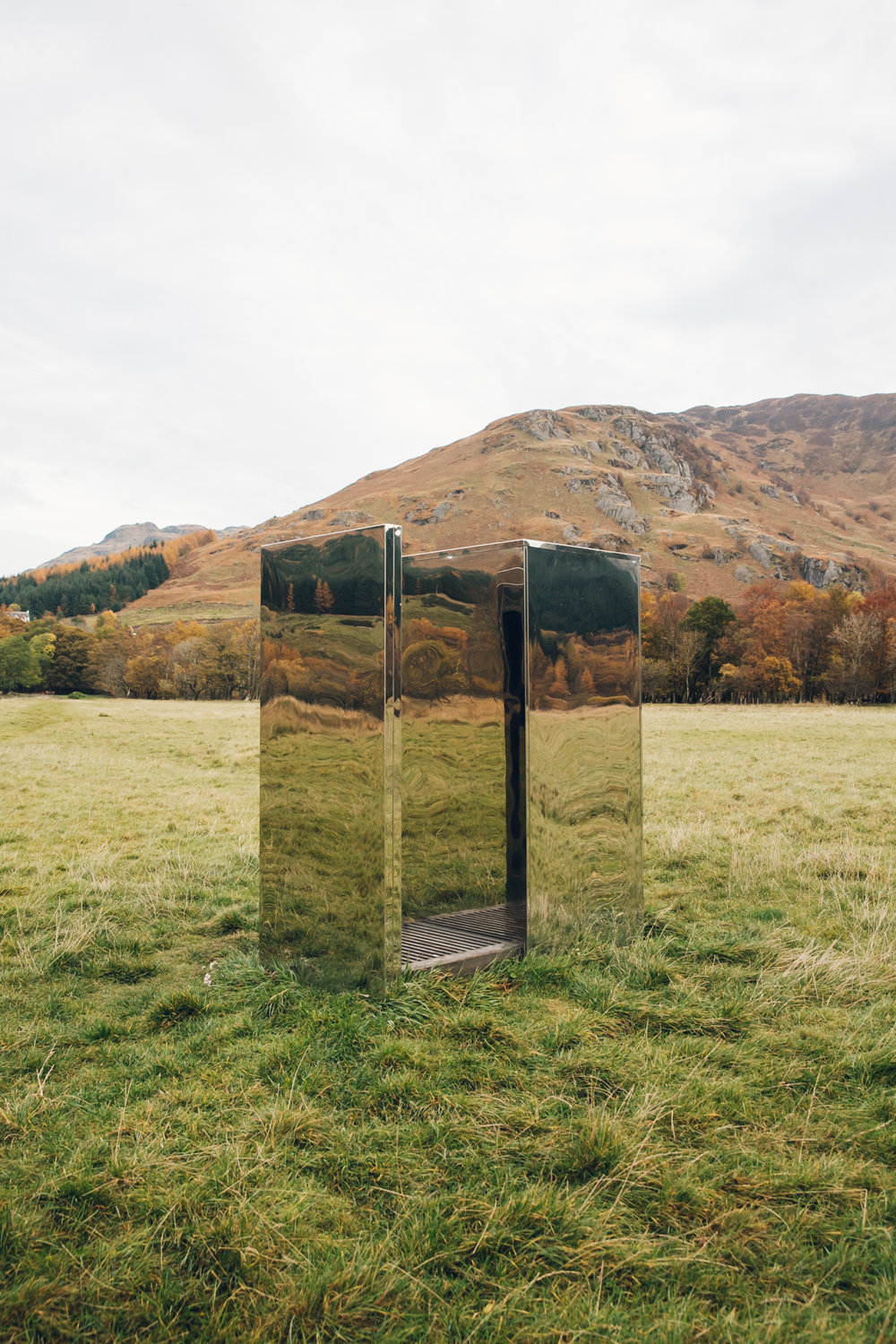 The mirrored LookOut on Loch Voil in Scotland.