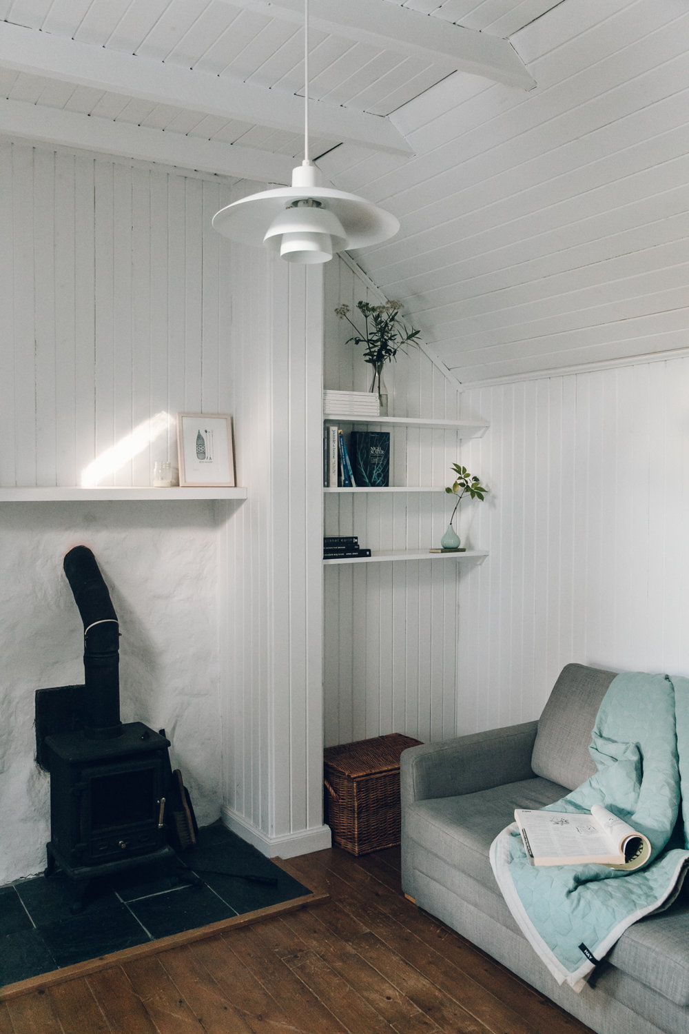 The Scandinavian-inspired living room inside The Crofter's House on the Isle of Skye.