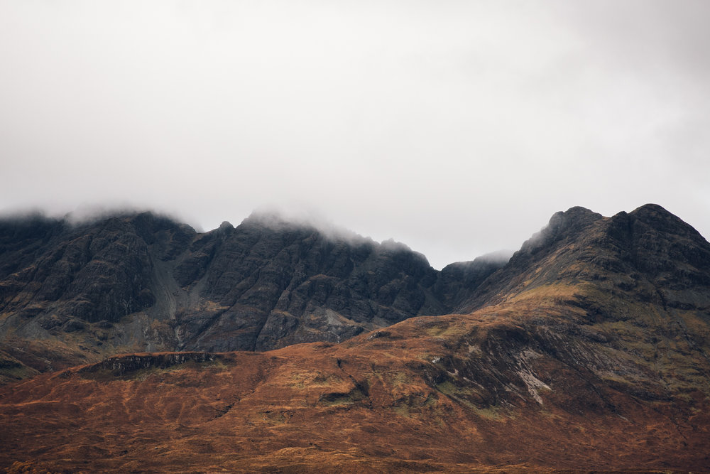 Misty mountains on the Isle of Skye in Scotland.