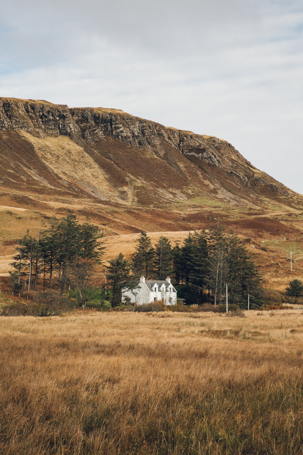 Lonely Scottish house set in the landscape.