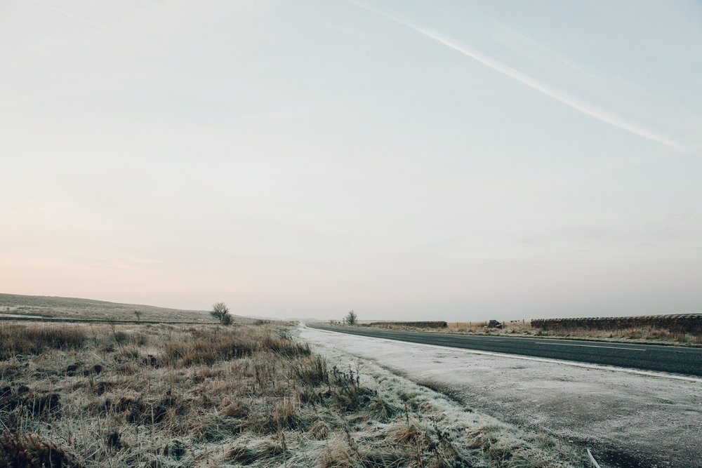 Winter roads in the Peak District.