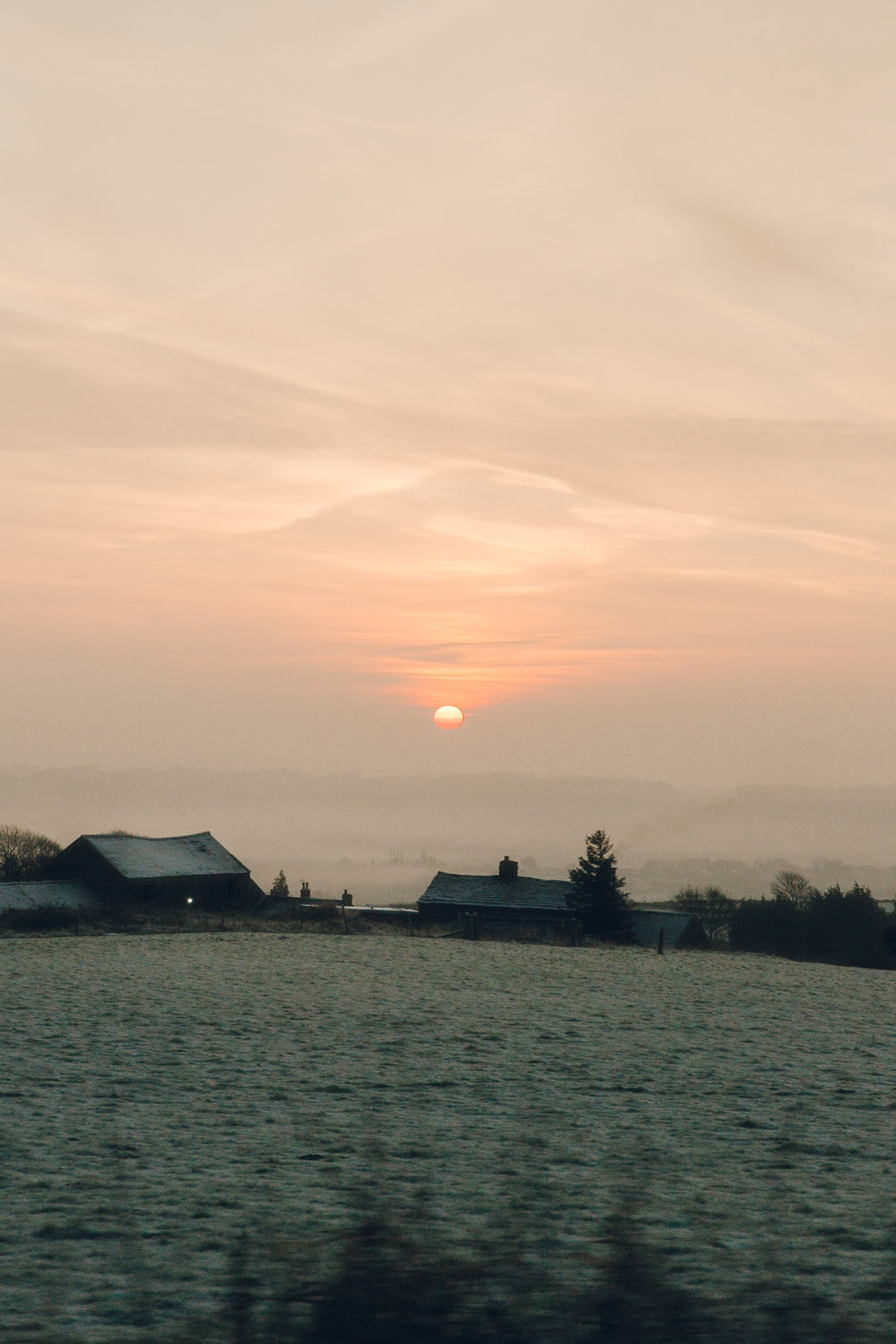 Sunrise over Derbyshire fields in the Winter.