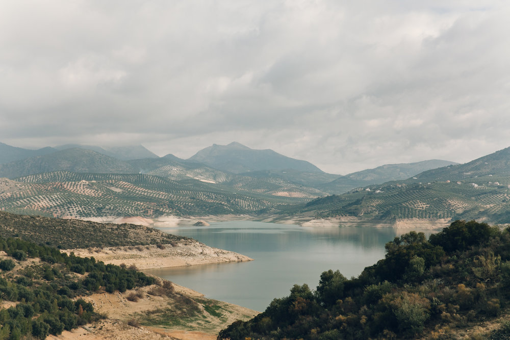 The view of Lake Iznajar from our caseria in Andalusia.