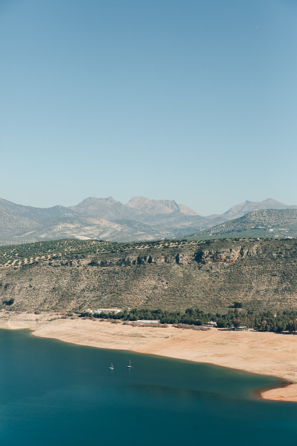 The view of Iznajar Lake in Andalusia.