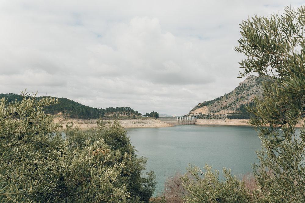 The dam of Lake Iznajar in Andalusia in Spain.