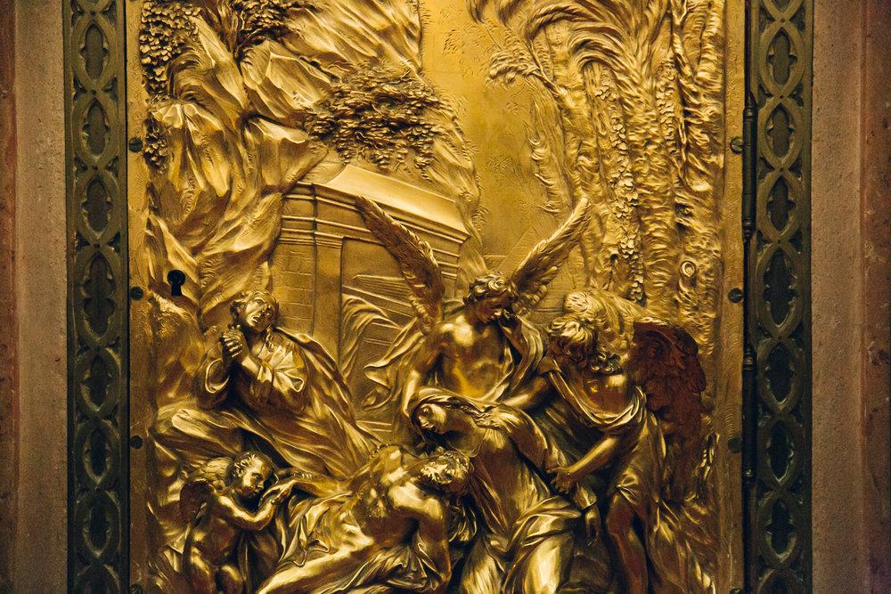 Gold artwork inside the Mezquita in Cordoba, Andalusia.