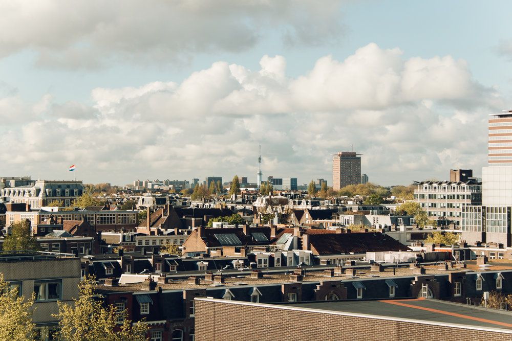 Amsterdam rooftops in spring.