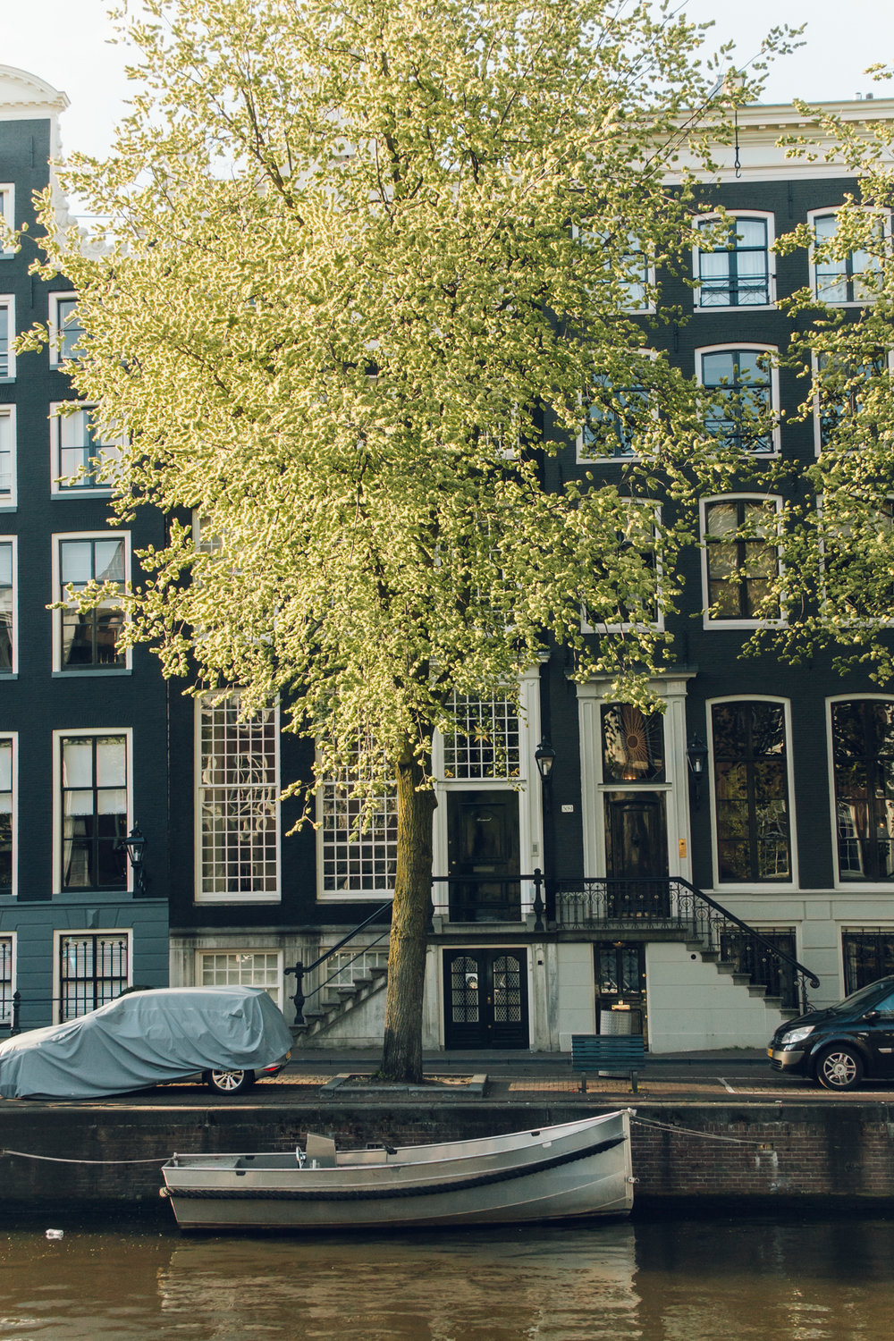 Wonky Amsterdam houses in spring.