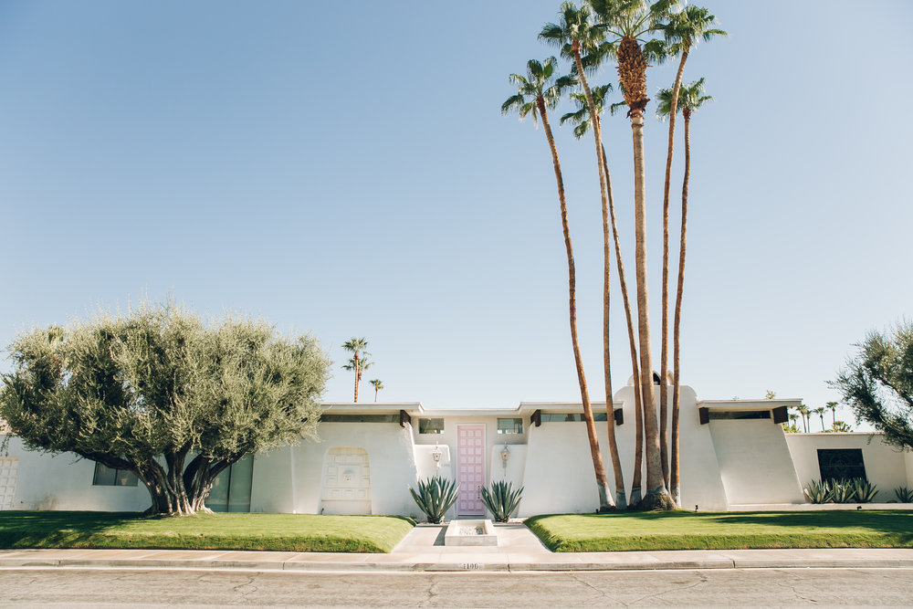 Palm Springs California House with Pink Door