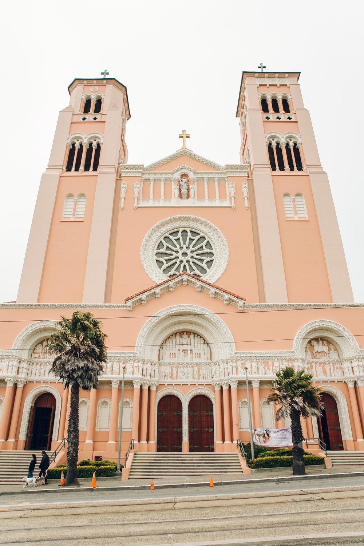 Pink church in San Francisco.