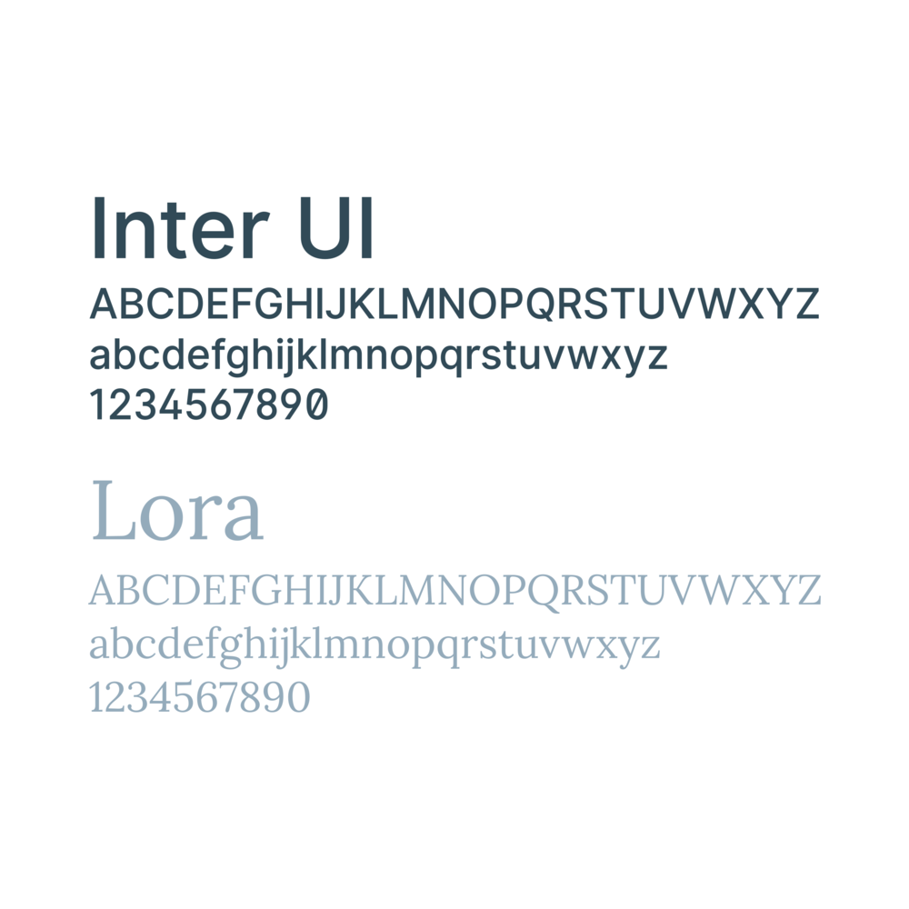 Typesetting the type - After countless iterations of numerous combinations, I chose Inter UI—a highly legible sans type—as the primary typeface, with Lora—a beautiful contemporary serif—for serif applications.