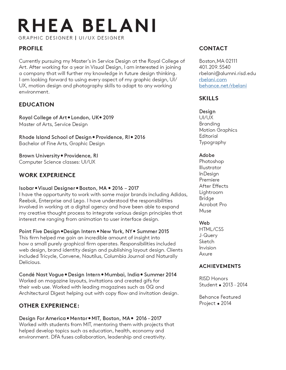 motion graphics resume