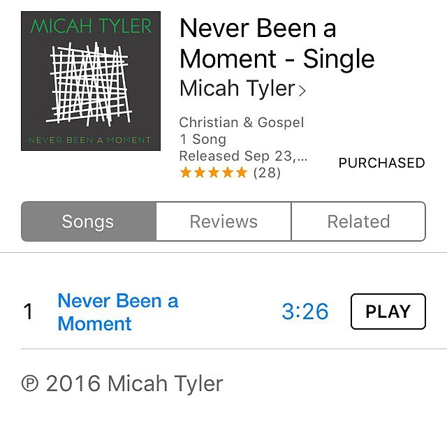 "Y'all go meet my dear friend @micahtylermusic if you don't yet know this soulful spicy buttery voice!  His single ""neverbeenamoment is out today on #itunes #worthit  Never Been a Moment - Single by Micah Tyler https://itun.es/us/DwpHeb"