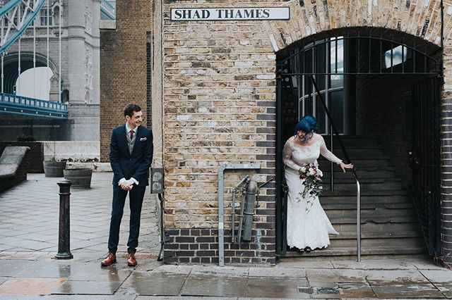 Sneak peak 1 of 4 at a first look for these two on their special day in London last Saturday #firstlook #weddingphotographer #weddingphotography #weddding #newlyweds #shadthames #towerbridge #london #citywedding #londonwedding #alternativewedding #alternativebride #junebugweddings #englishweddingblog #vintage @rocknrollbride @englishweddingblog @junebugweddings