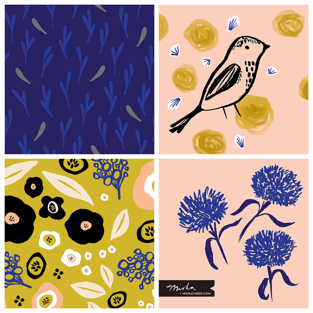 A few new designs available for licensing at Surtex 2016. Misha Zadeh Illustration & Design: Booth 527
