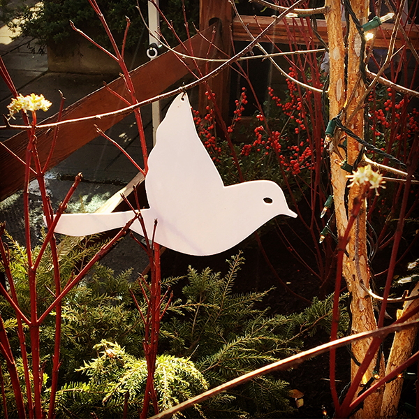 Bird Ornaments hanging throughout the property