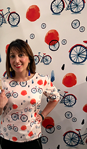 "Misha Zadeh in her Misty Bicycle print ""Laurel"" blouse, available through Sprout Patterns"