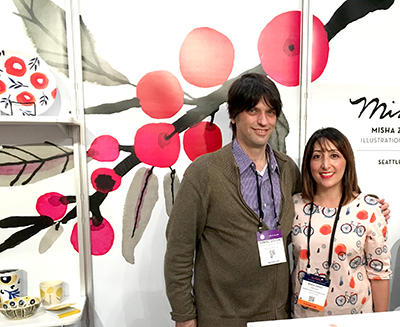 Milwaukee bookseller Daniel Goldin of Boswell Book Co with designer Misha Zadeh at Surtex 2017