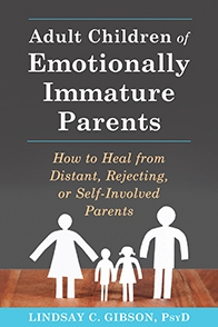 - I can't say enough good things about this book. First of all, it's important to remember that most parents do the best job that they can when raising their children. One thing that I valued about this book, was that it never takes the tone of bashing or blaming parents for all a child's difficulties. However, it does not shy away from addressing what results from core emotional needs being unmet during childhood. Secondly, I appreciated the author's empowering approach; aiming to help the reader take responsibility for their own needs and teaching strategies for learning to negotiate relationships with people who lack emotional maturity. I found the book to be extremely helpful in breaking down these into manageable steps: learning to stay observational not emotional, practicing emotional maturity awareness, and stepping out of old roles. Lastly, the book ends with a chapter on how to recognize emotional maturity in others. Often, when children grow up in homes with emotionally immature parents, they continue to seek out other people who have similar or familiar emotional patterns. This can lead to a lifetime of hardship and broken relationships unless they can learn to recognize and pursue healthy and mature people. I believe that learning to identify the characteristics and behavior patterns of mature individuals is beneficial to everyone, regardless of childhood experiences. For many years now, I have journeyed with women who have found themselves in a pattern of frustrating, chaotic, or imbalanced relationships often as a result of an emotionally unfulfilled childhood. Many of them have found freedom by growing in their own awareness, acceptance and emotional maturity. If this resonates with you, please contact me so that we can talk further about working towards your own healing.health.wholeness.https://www.newharbinger.com/adult-children-emotionally-immature-parents