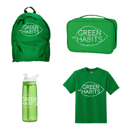 ABOUT the 3D Pieces ...  I created a variety of 3D pieces that are objects that a child might use in their everyday life. These objects include a reusable water bottle, a t-shirt, a lunch bag and a backpack. They are branded with the campaigns logo to keep it on their minds. I kept the color scheme to green so that it is easier to make the connection back to the Earth for those who don't know what the campaign is about.